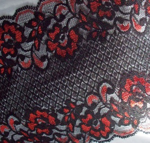 black lace with red flowers